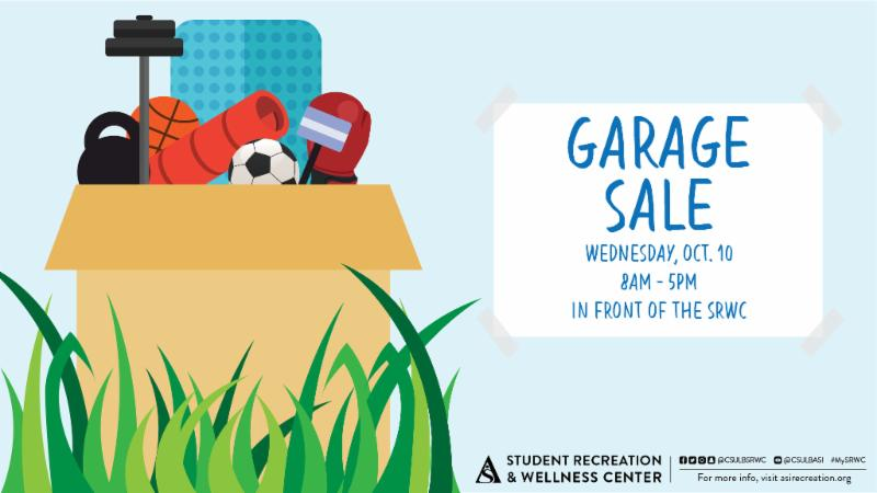 Garage Sale on Wednesday October 10 from 8 am to 5 pm in front of the SRWC