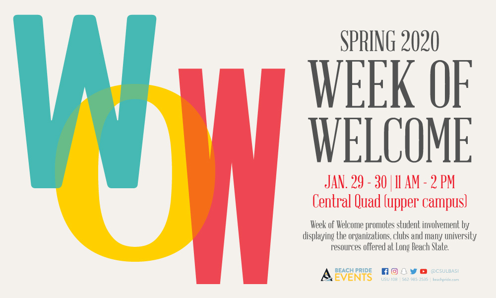 Week of Welcome will take place  Jan 29 and Jan 30 from 11 am to 2 pm in the central quad on upper campus