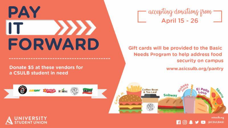 Pay it Forward USU Vendor Event from Monday April 15 through Friday April 26
