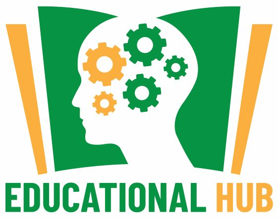 Educational Hub Logo green gears inside a  human head with a green book with yellow edges behind it