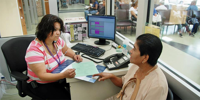 A patient get in-person assistance.