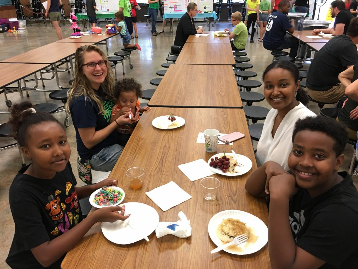 Ramsey Middle School students eating breakfast