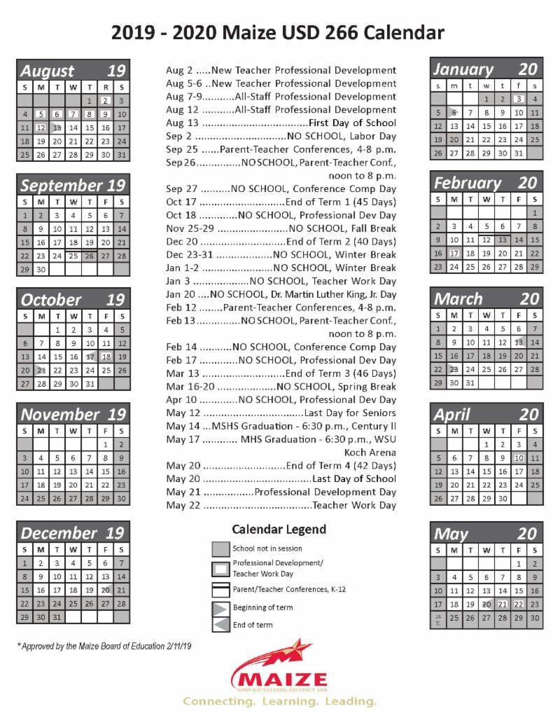 2019-2020 Maize USD 266 Calendar