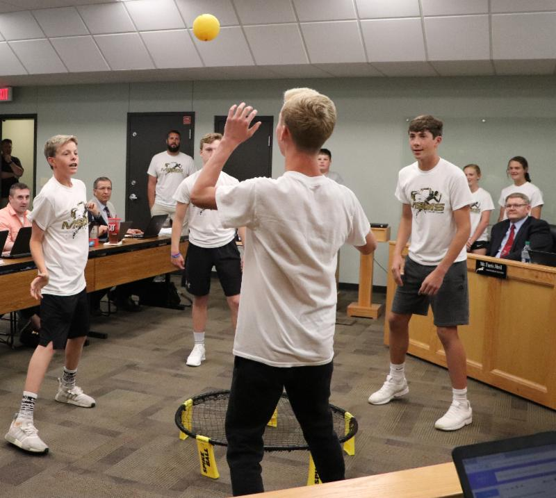 Maize South Middle School students demonstrated Spikeball.