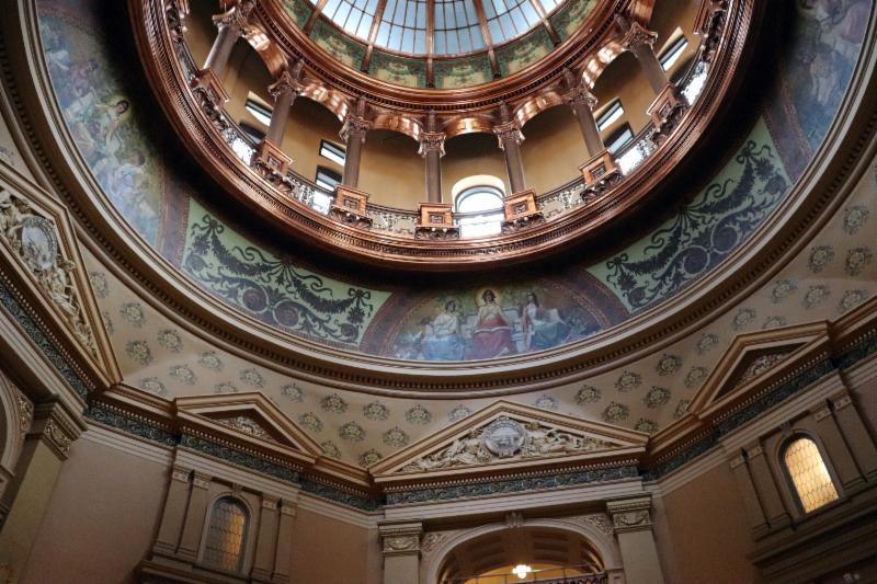 The dome at the Kansas State Capitol building in Topeka.
