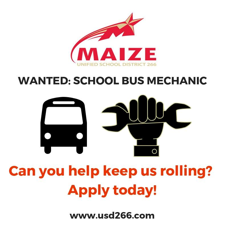 Wanted: School bus mechanic. Can you help keep us rolling? Apply today! www.usd266.com