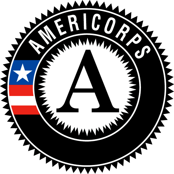 AmeriCorps logo with Black border and large letter A in the center