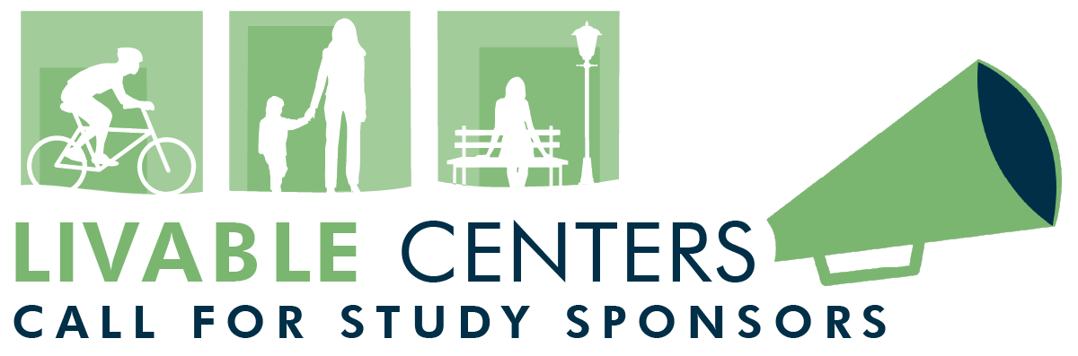 Livable Centers Call of Study Sponsors with silhouettes and megaphone