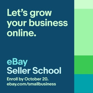 blue square with lets grow your business online and eBay seller school printed in green
