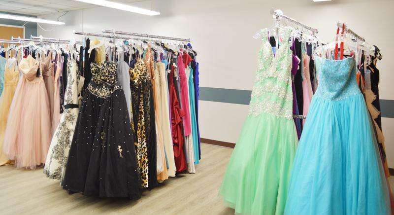 Racks of formal evening gowns