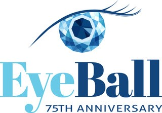 a graphic of an eye ball made of diamonds with the words  eye ball 75th anniversary under it