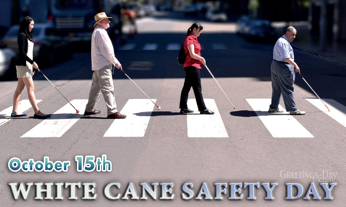 Four adults walking with a white cane that re-enacts the Beetles Abby Road album cover
