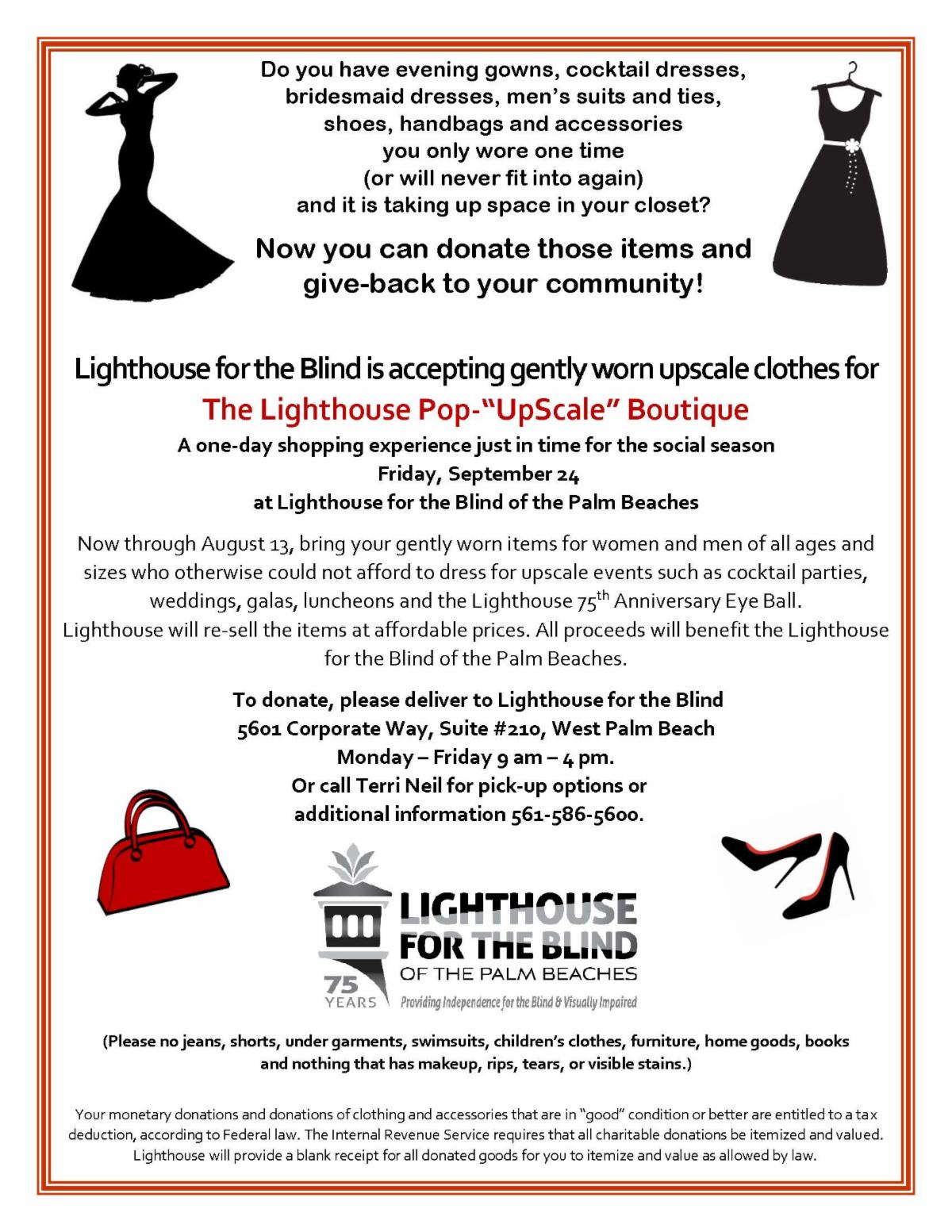 Image of a flyer asking for donations of gently worn evening wear from women and men for an upcoming event Lighthouse Pop Up Scale Boutique on September 24, 2021 at Lighthouse.