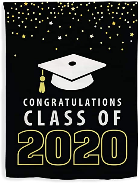 Black banner with a white graduation cap over the words Congratulations Class of 2020