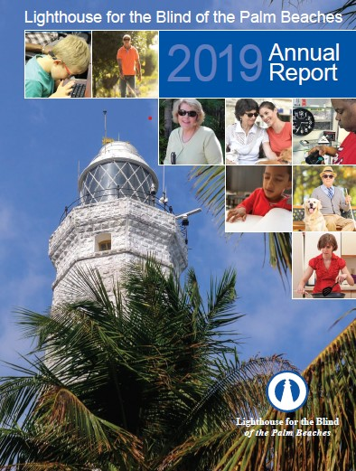 Front cover of 2019 Annual Report with photo of Lighthouse and smaller photos of different blind men, women and children