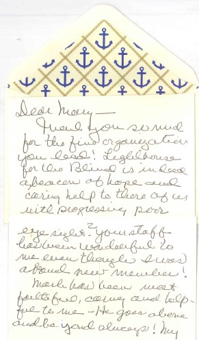 note card with blue anchors on the envelope and cursive hand written text