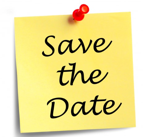 A Yellow Post-it note saying SAVE THE DATE