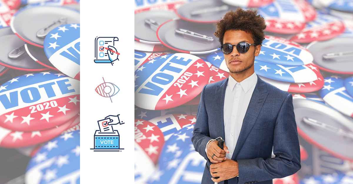 Blind man holding a cane in front of a background of I Voted buttons