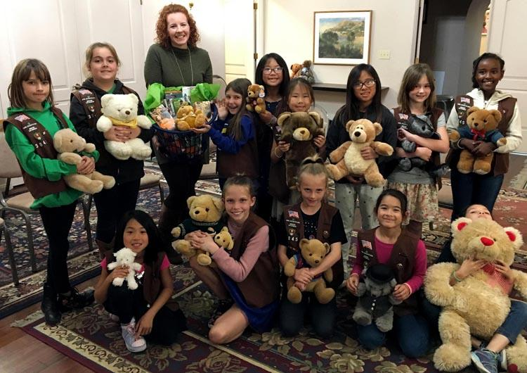 Girl Scout Troop 3845 Hugging Teddy Bears