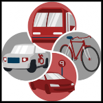 graphic with bus, car, bike and taxi