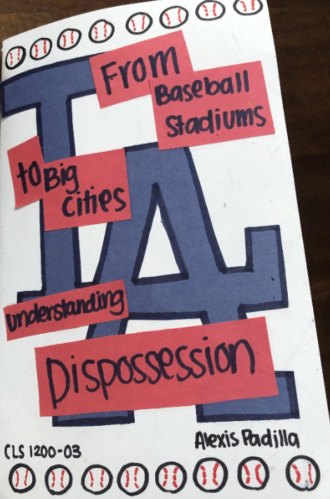 Book cover with LA dodger logo and drawings of baseballs