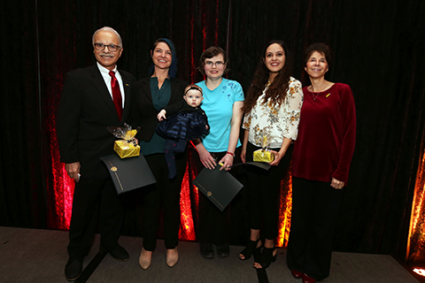 President Covino and Debbie Covino pictured with three winners of the Mind Matters Champion award