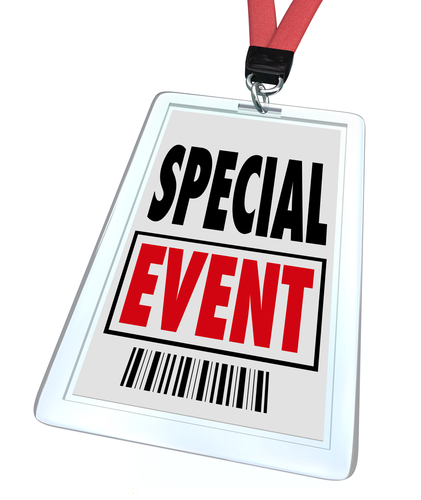 A badge and lanyard with printed pass reading Special Event to advertise or market a convention_ conference_ meeting_ exhibition_ expo or exposition
