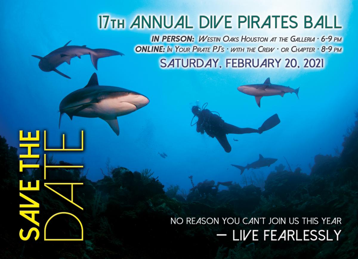 save the date post card 17th annual dive pirates ball february 20, 2021 6-9pm in person 8-9 online Live fearlessly