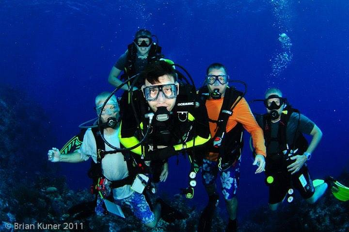 group underwater shot of divers