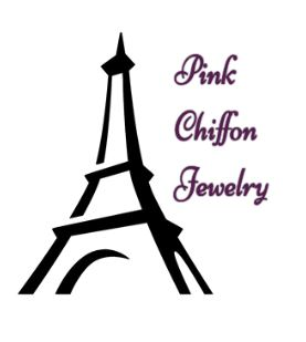 eiffel tower graphic with pink chiffon jewelry logo