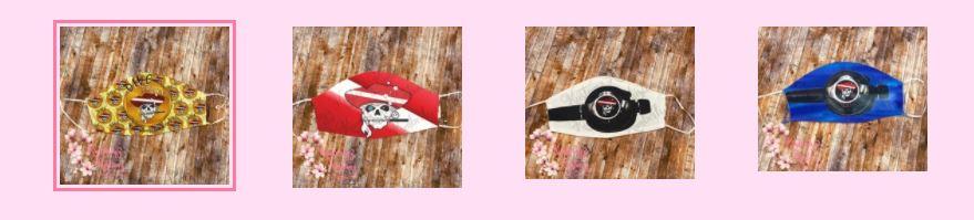 four pirate masks with diamond eye jack