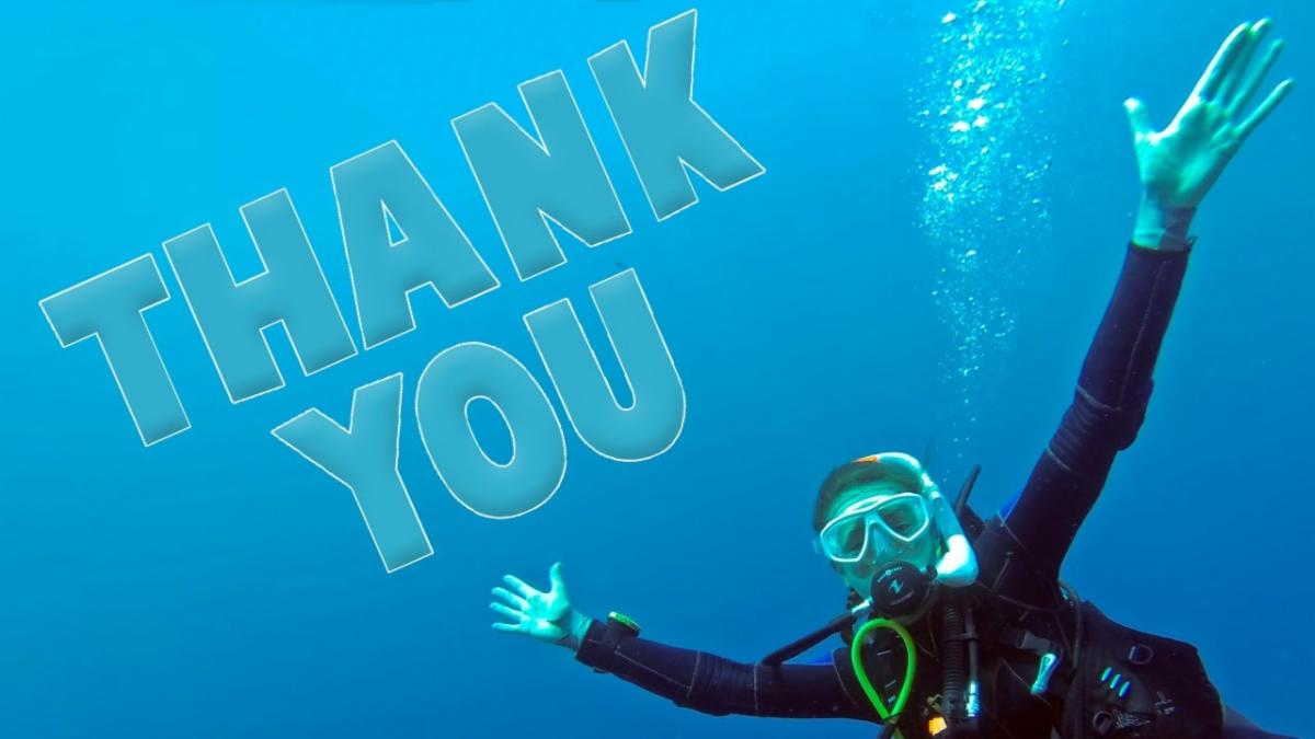 scuba diver saying thank you