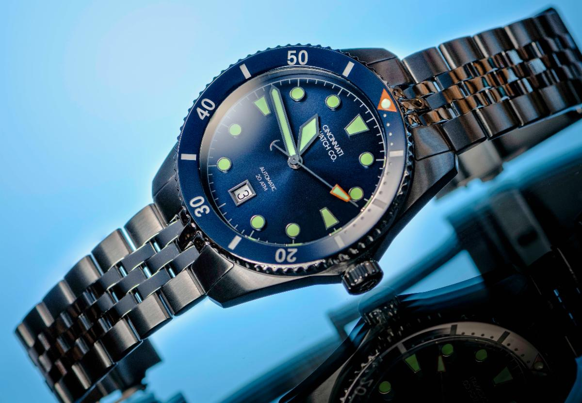 blue diver watch from cincinnati watch company