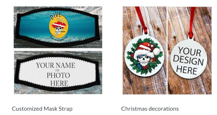 customized mask strap and christmas ornament