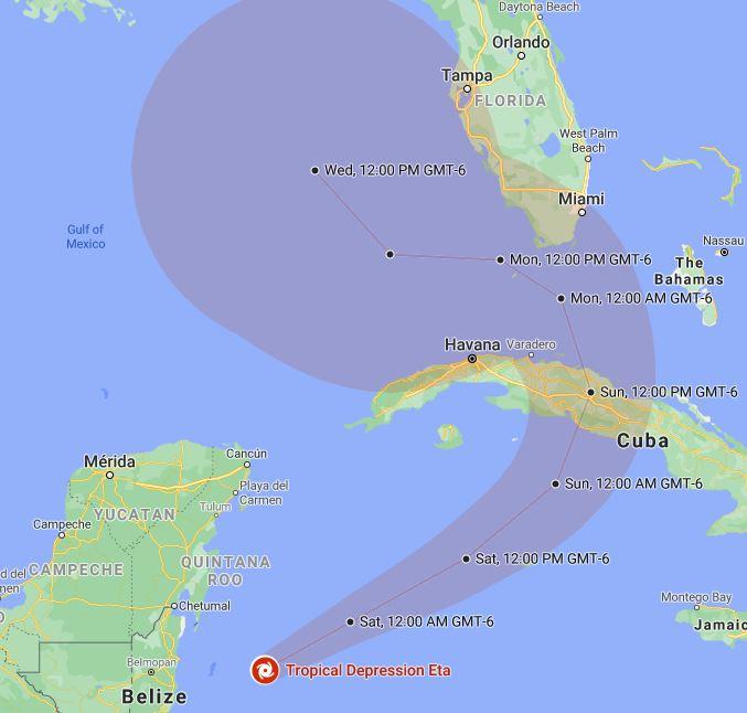 hurricane eta map