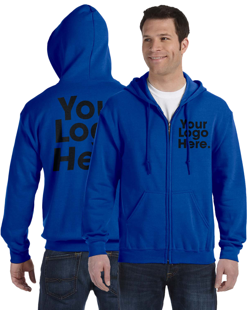 AW561 Royal Blue Hooded Zipper Sweatshirt