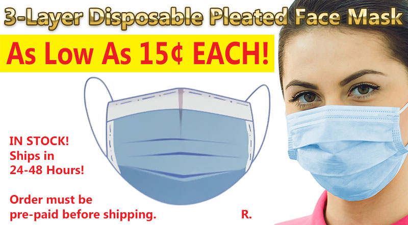 CV126 Disposable Pleated Face Mask 15¢