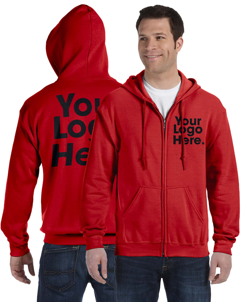 AW561 Red Hooded Zipper Sweatshirt
