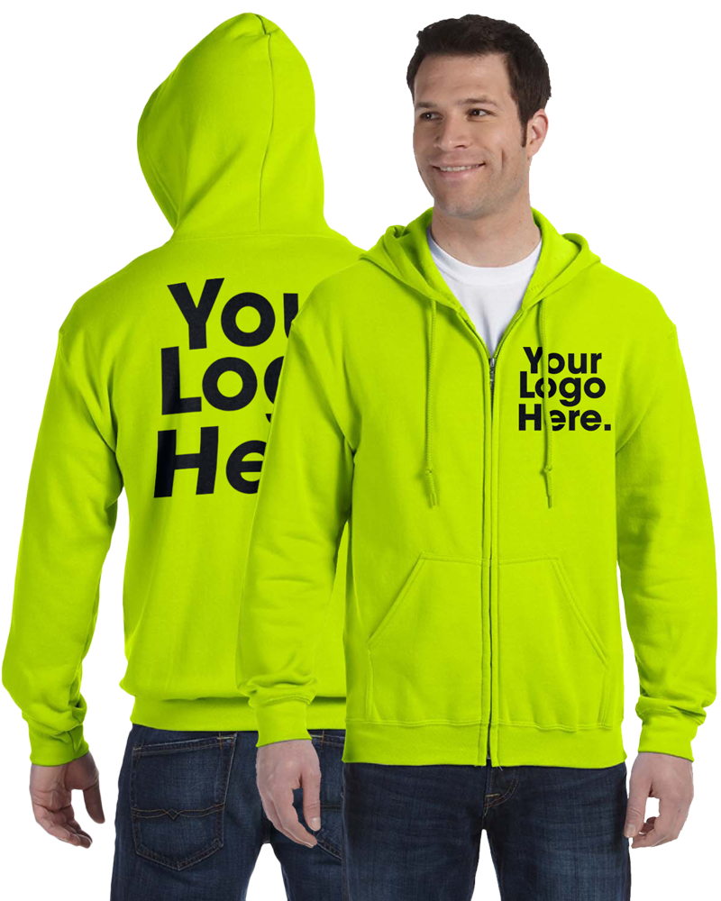 AW561 Safety Green Hooded Zipper Sweatshirt