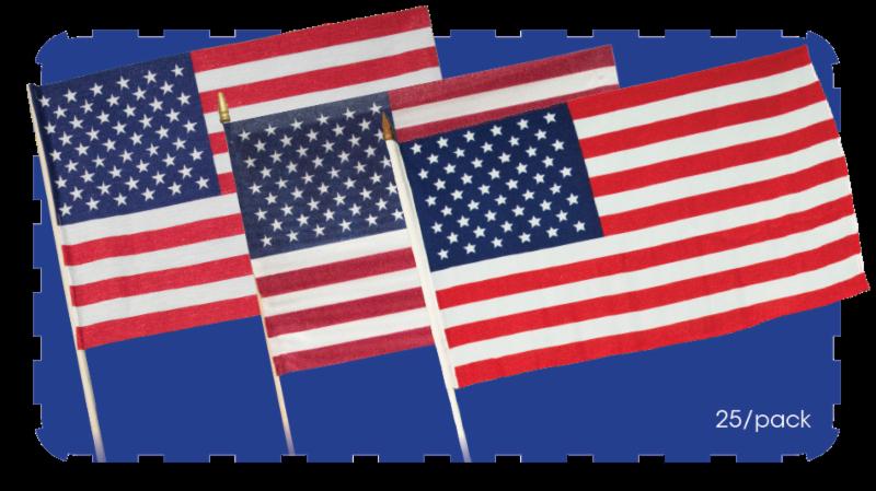 "18"" x 12"" USA Stick Flags (BA351 • BA349 • BA280)"