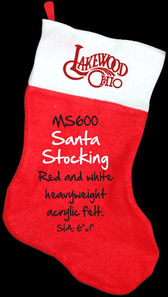 "MS600 Santa Stocking: Red and white heavyweight acrylic felt. SIA: 6""x1"""