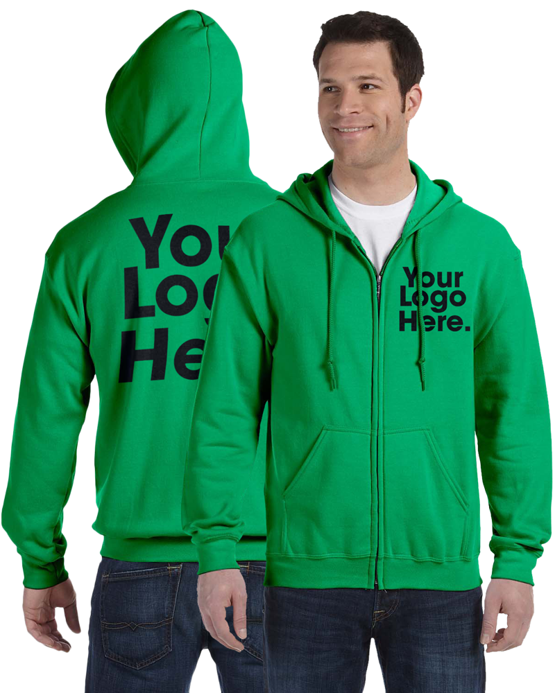 AW561 Irish Green Hooded Zipper Sweatshirt