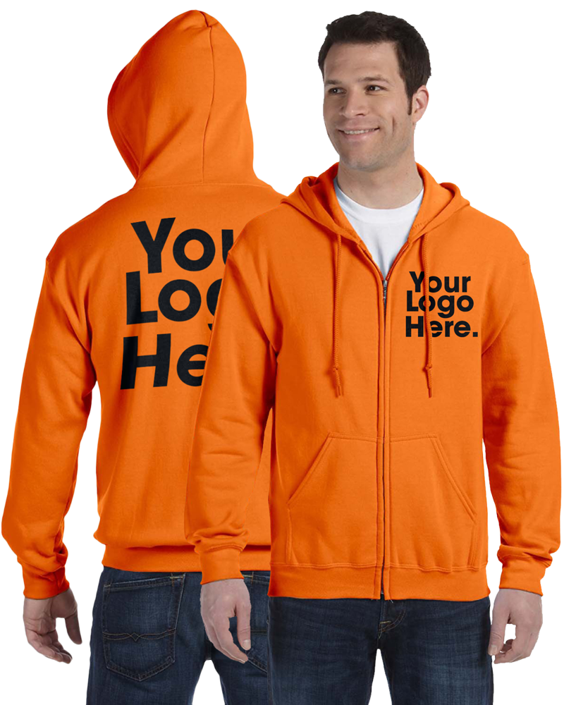 AW561 Safety Orange Hooded Zipper Sweatshirt