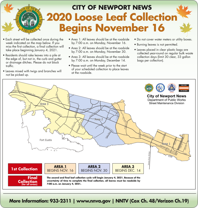 The map and directions for  City of NN Loose Leaf Collection 2020