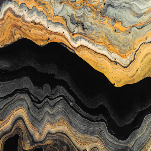 Gold and black waves. Abstract marble background or texture. Acrylic Fluid Art.