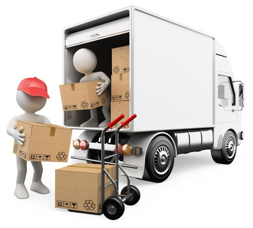3d white persons unloading boxes from a truck to a hand truck. 3d image. Isolated white background.