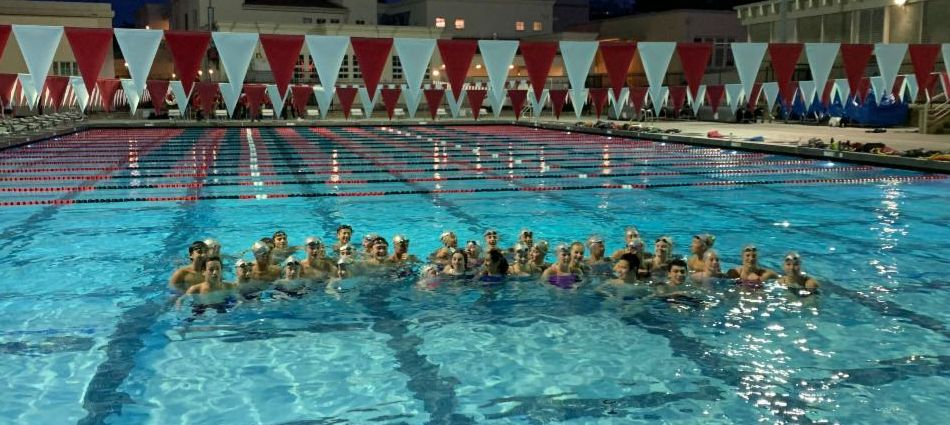 Students and staff in the newly opened Burlingame Pool