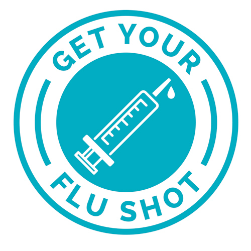 Blue circle with a syrninge in the middle with text that reads_ Get Your Flu Shot