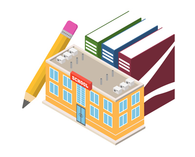 Drawing of a school building with a large pencil and books stacked up next to it