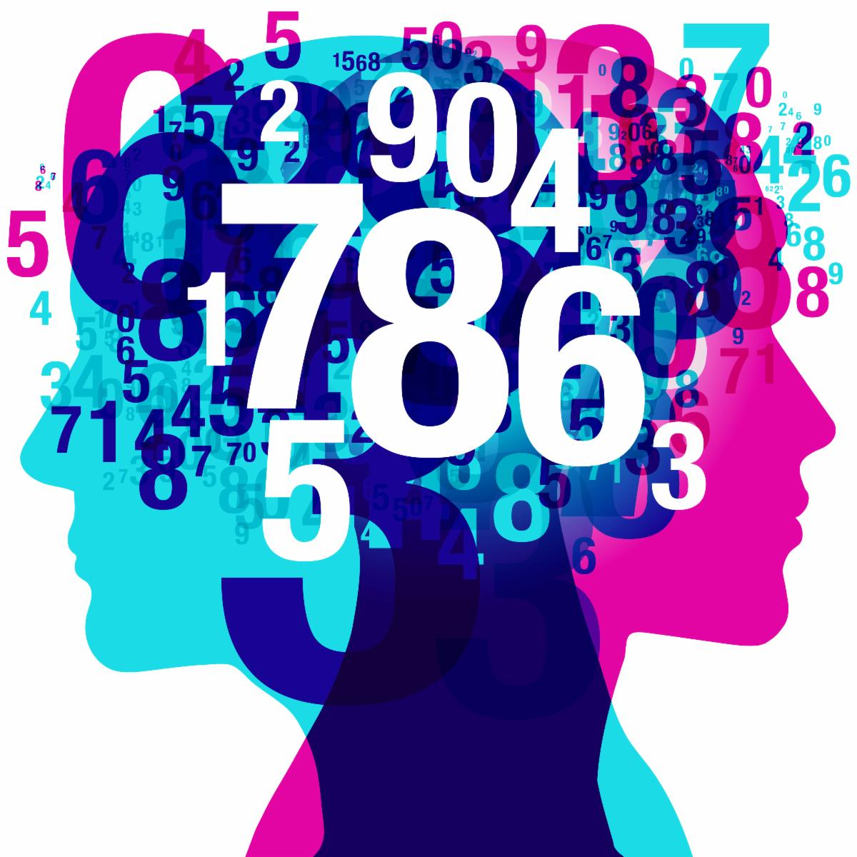 Drawing of a silhouette of heads with numbers falling out